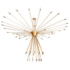 Monumental Scale 60-Arm Brass Midcentury Sputnik Chandelier