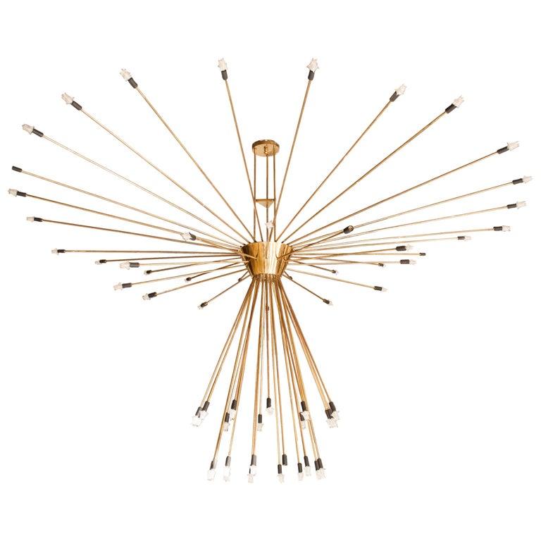 Monumental Scale 60-Arm Brass Midcentury Sputnik Chandelier For Sale