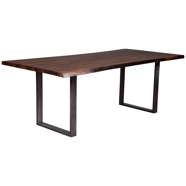 Live Edge Black Walnut Dining Table on Steel