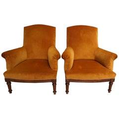 Pair of Orange Velvet French Lounge Chairs Walnut Frame, 1920-1930s