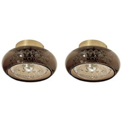 Pair of Flush Mount Ceiling Light by Carl Fagerlund, 1970s