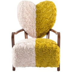 Contemporary Uni Armchair with Heart Shaped Back and Yellow and White Mohair