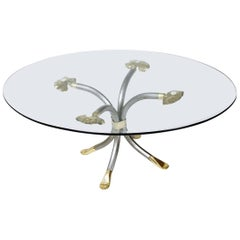 Vintage 'Manfred Bredohl Brass and Iron Coffee Table Germany, 1970