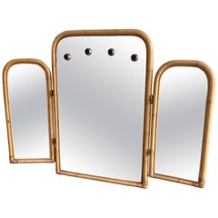 Italian Midcentury Triptych Bamboo Framed Mirror with Lights from 1970s