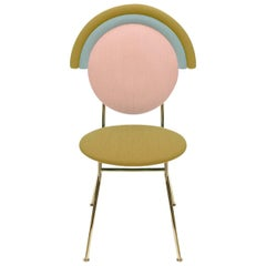 Contemporary Iris Chair with Brass Finished Legs