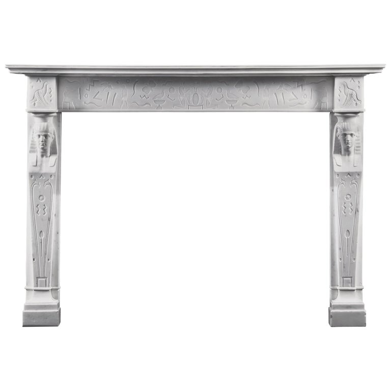Rare, English Regency Neoclassical Egyptian Style Statuary Marble Fireplace For Sale