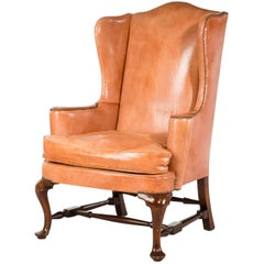 George III Style Wing Chair with the Finest Hide Covering