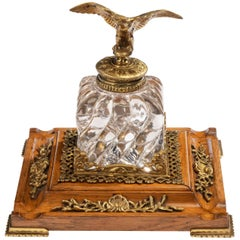 Large Glass and Gilt Bronze Gentleman's Inkwell