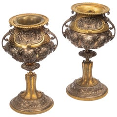Pair of Well-Cast Bronze and Gilt Bronze Vases