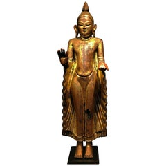 17th Century, Standing Buddha in Abhaya and Varada Mudra, Ava Period