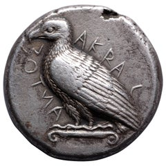 Ancient Greek Silver Tetradrachm Coin from Akragas Sicily, 460 BC