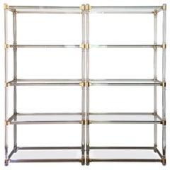 Midcentury Pair of Brass Lucite and Glass Étagère, Pair of Five Shelves Étagère