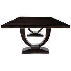 Astrid Dining Table, Rectangular Table in Sycamore Black with Polished Nickel