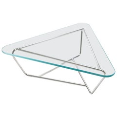 Contemporary Glass and Stainless Steel Coffee Table Prism by Made In Ratio