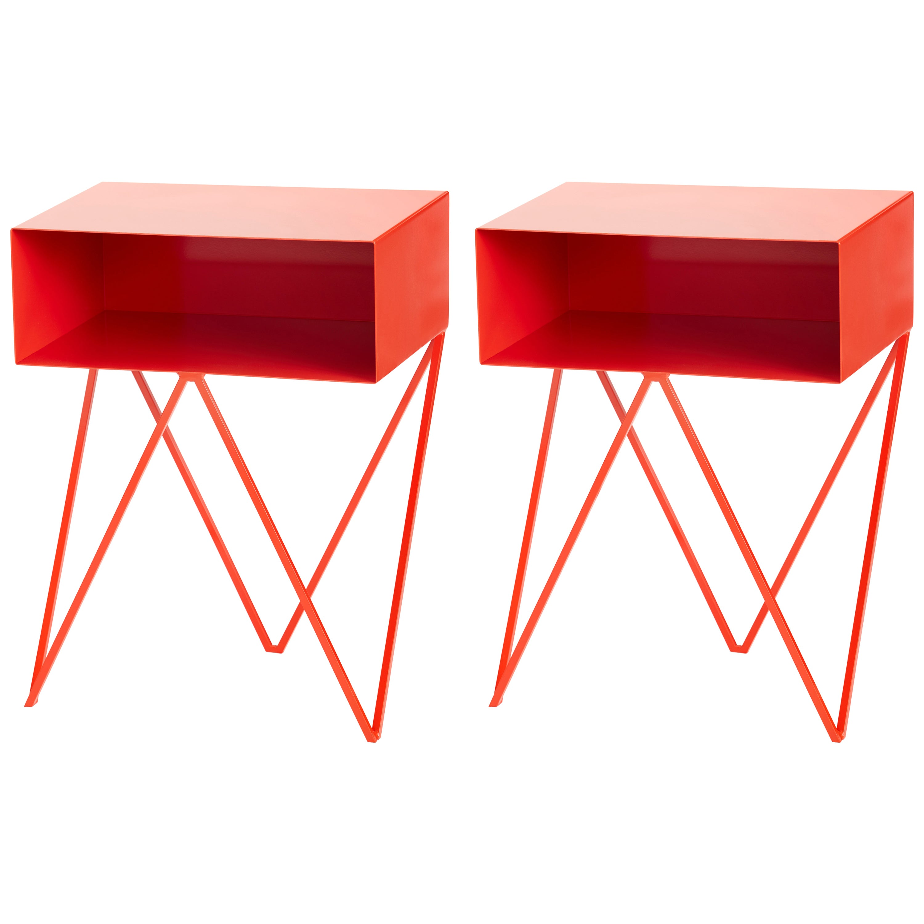 Pair of Red Powder Coated Steel Robot Bedside Tables