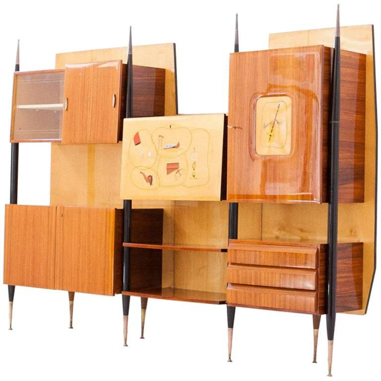 Italian Mid Century Modern Wall Unit With Bar 1950s For