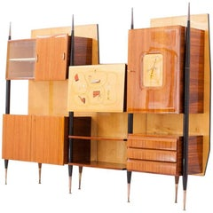 Italian Mid-Century Modern Brass and Wood Wall Unit Bookcase with Bar, 1950s