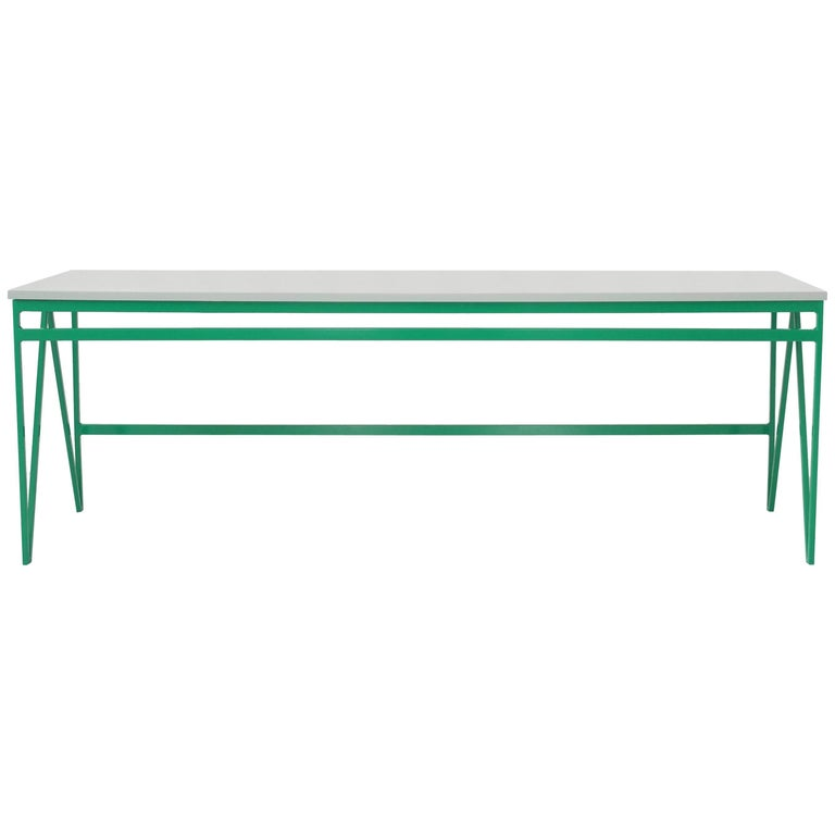 Colour Play Long Green Steel Bench