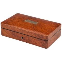 Antique Amboyna Velvet Lined Richard Wathew Jewelry Box, 19th Century