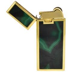 Vintage Italian 18-Karat Gold and Polished Malachite Cigarette or Cigar Lighter