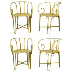 Four French Wrought Iron Garden Chairs, circa 1910