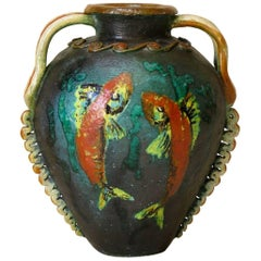 Large Earthenware Vase with Fish Decor, France, circa 1950s
