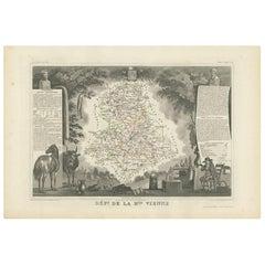 Antique Map of Upper Vienne 'France' by V. Levasseur, 1854