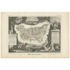 Antique Map of Vosges 'France' by V. Levasseur, 1854