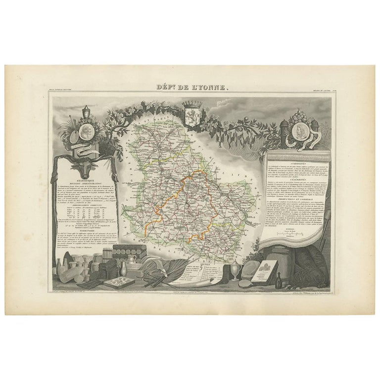 Antique Map of the Chablis Region 'France' by v. Levasseur, 1854