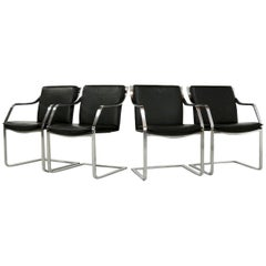 Set of Four Black Leather Armchairs Design Walter Knoll