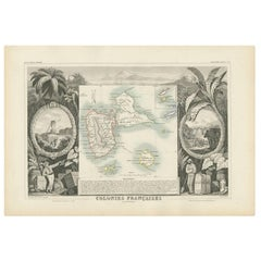 Antique Map of the French Colony Guadeloupe by V. Levasseur, 1854