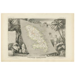 Antique Map of the French Colony Martinique by V. Levasseur, 1854