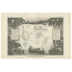 Antique Map of the French Colonies in Senegal and Madagascar by V. Levasseur