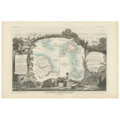 Antique Map of the French Colonies in America by V. Levasseur