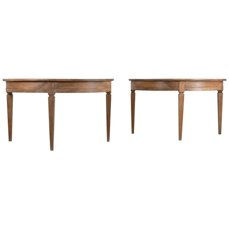 Pair of 19th Century Demilune Tables
