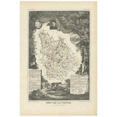 Antique Map of Vienne 'France' by V. Levasseur, 1854