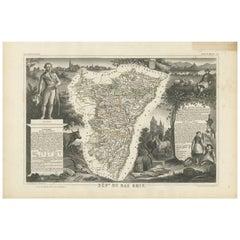 Antique Map of Bas-Rhin 'France' by V. Levasseur, 1854