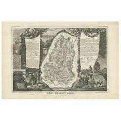 Antique Map of Haut-Rhin, France by V. Levasseur, 1854
