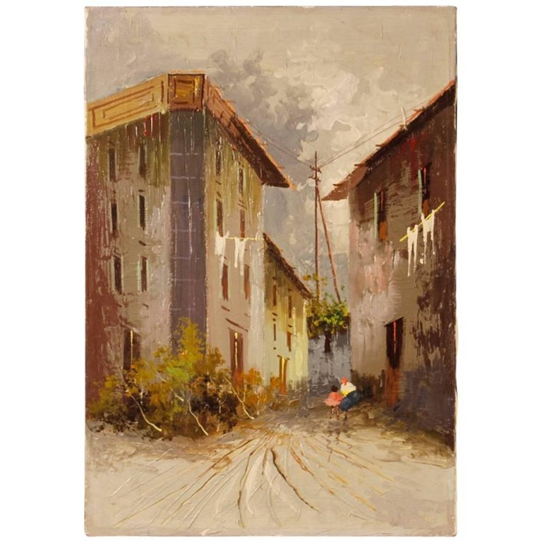 Italian Landscape Painting Mixed-Media on Canvas from 20th Century