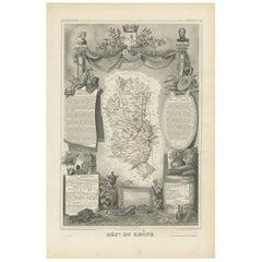Antique Map of the Rhône, France by V. Levasseur, 1854