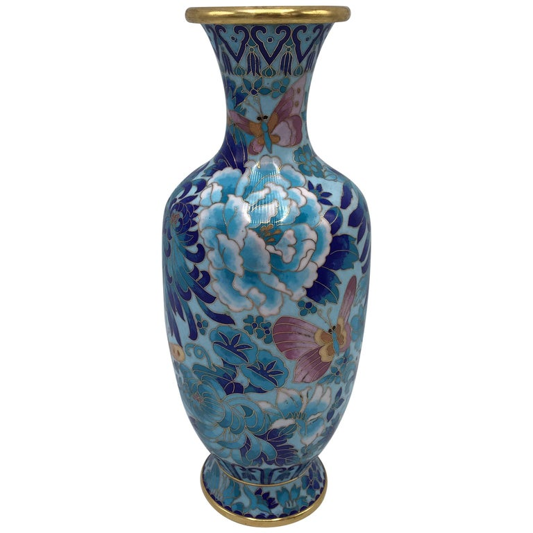 1960s Blue Cloisonné Vase with Peony and Floral Motif