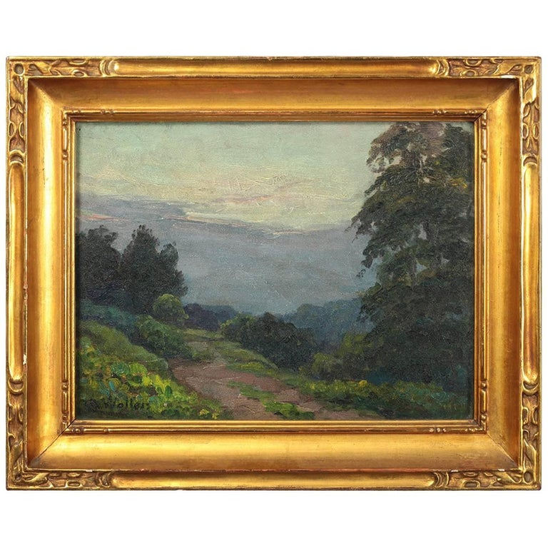 Antique 'the Path to the Woods' Oil on Board Painting by Artist Christ Walters