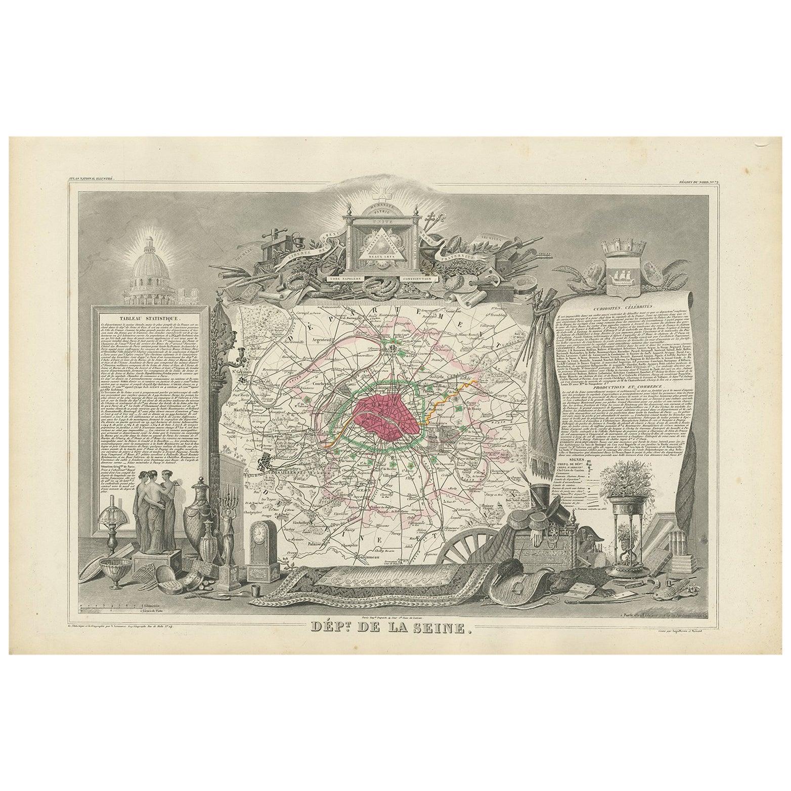 Antique Map of Seine 'France' by V. Levasseur, 1854