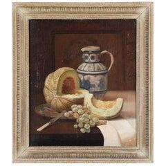 Antique Still Life Oil Painting by American Artist George W. Platt, 19th Century