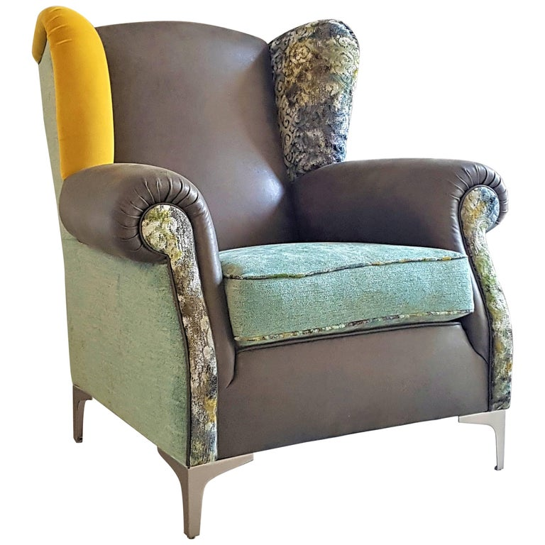 Italian Crafts Faux Leather Damask Fabric and Velvet Patchwork Bergére Armchair