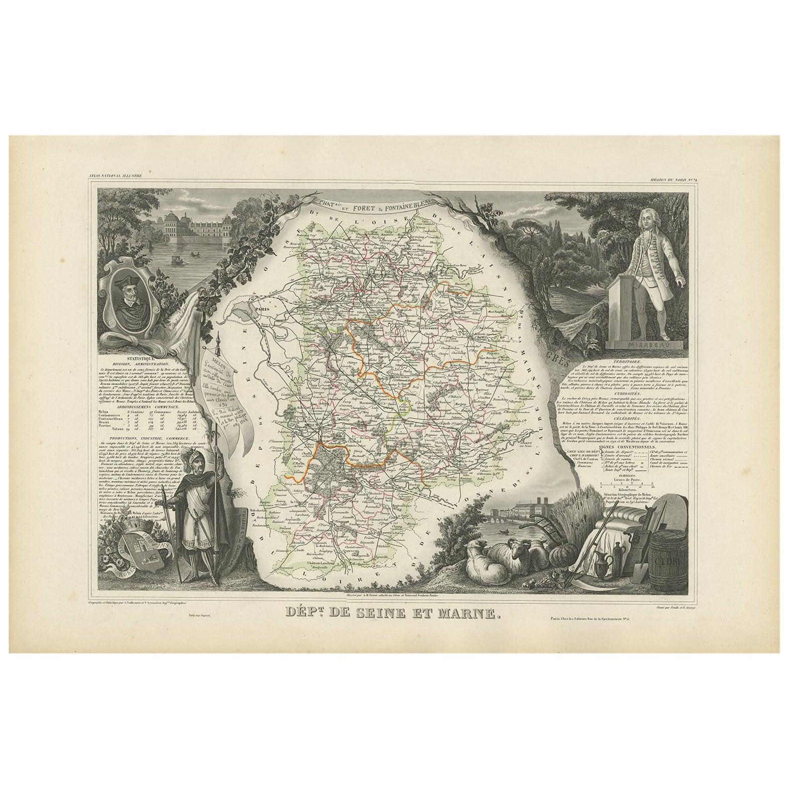Antique Map of Seine et Marne 'France' by V. Levasseur, 1854