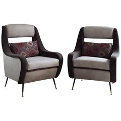 1950s Inspired Cone Shaped Leg Poplar Wood Faux Leather and Velvet Armchairs