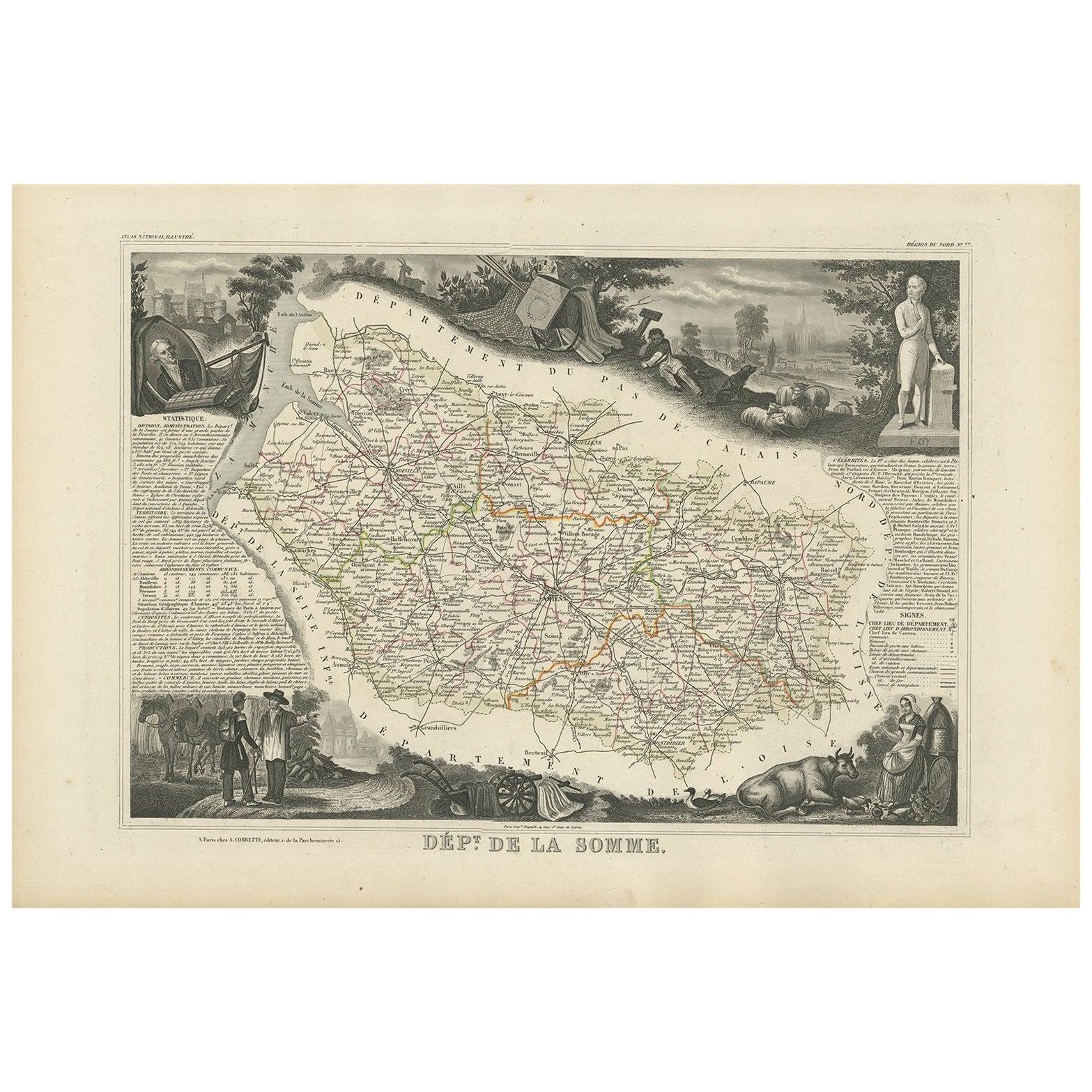 Antique Map of Somme 'France' by V. Levasseur, 1854