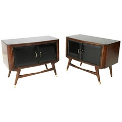 Pair of Black Walnut and Ebonized Wood Nightstands in the style of Parisi, 1950s