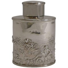Stunning Antique English Sterling Silver Tea Caddy